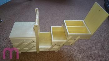 Nähkasten Nähkästchen Handarbeitskorb Holz 36x18x26 cm hell