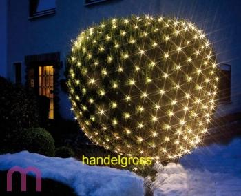LED Lichternetz Lichterkette Baumbeleuchtung 240 warmweiß 3x3 m IP44 Netz grün