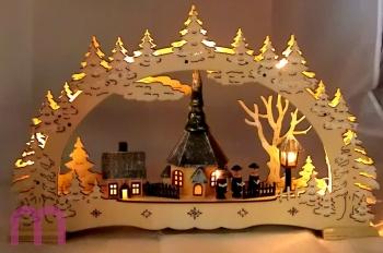 Fensterleuchter Schwibbogen, Seiffen mit Kirche, Lichterbogen, Weihnachten 3D mit LED und Trafo