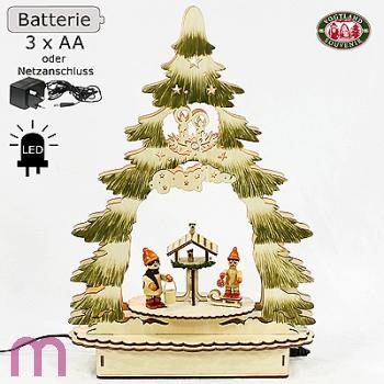 LED Fensterleuchter Holzleuchter Weihnachtsleuchter Winterkinder 34x 9x23 cm
