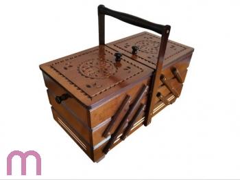 Nähkasten Nähkästchen Handarbeitskorb Holz mit Nadelkissen  Erle hell XXL