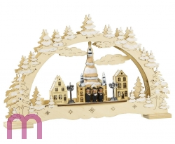 Schwibbogen, Frauenkirche mit Sängern, Lichterbogen, Weihnachten, 3D mit LED, Weihnachten