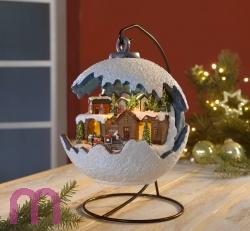 Elektrische Weihnachtskugel mit fahrendem Zug, LED Licht und Musik