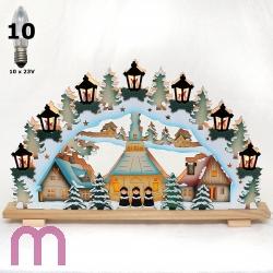 schwibbogen Fensterleuchter  Deutsche Weihnacht Schwibbogen Seiffener Kirche 57cm 3D-Optik