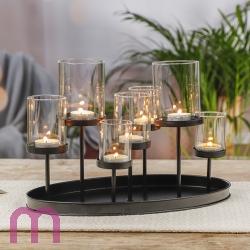 Kerzenständer Kerzenhalter Leuchter Teelichthalter oval für 7 Teelichte